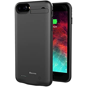 iPhone 7 Plus / 8 Plus Battery Case, Marsno 4000mAh Backup Charging Case Protective Power Case Juice Bank Cover with Kickstand for iPhone 7 Plus 8 Plus (5.5 inch) [iPhone 6/6s Plus Compatible] (Black)