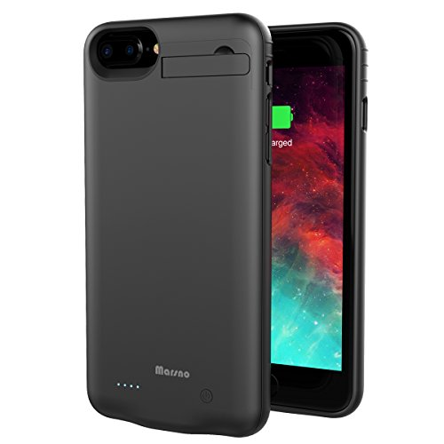 Marsno Iphone 7 Plus 8 Plus Battery Case  4000Mah Backup Charging Case Protective Power Case Juice Bank Cover With Kickstand For Iphone 7 Plus 8 Plus  5 5 Inch   Iphone 6 6S Plus Compatible   Black