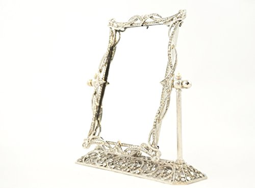 Ciel Collectables Swivel Mirror on Stand with Hand Set Clear Swarovski Crystal, Silver Plating Over Solid Pewter Base, Brown Color Stylish Silk Back, Mirror Size 5 x 7 - Color Plating