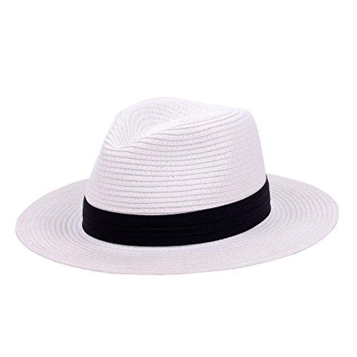 Panama Straw Hat,Womens Sun Hats Summer Wide Brim Floppy Fedora Beach Cap UPF50+ -