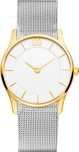 Danish Design IV65Q1063 Two Tone Silver Tone Gold Bezel White Dial SS Stainless Steel Mesh Women's Watch