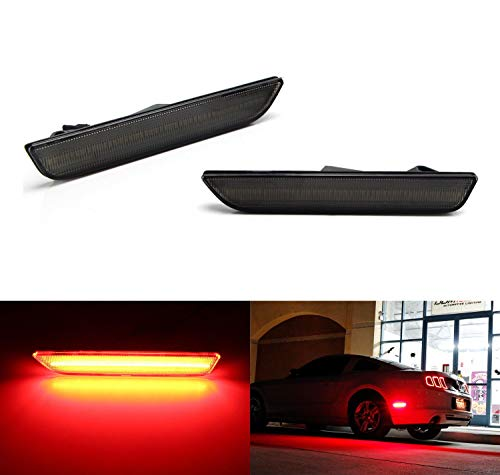 iJDMTOY Smoked Lens Red Full LED Rear Side Marker Light Kit For 2010-14 Ford Mustang, Powered by 45-SMD LED, Replace OEM Back Sidemarker Lamps