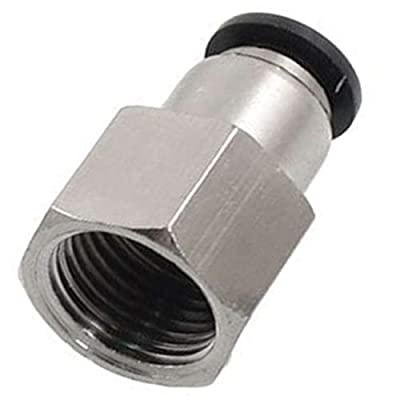 "Utah Pneumatic Push to Connect Air Fittings 1/4"" Od 1/4"" Npt Female Nylon & Nickel-Plated Brass Pneumatic Fittings Air Line Fittings Straight Union Fitting PTC Pneumatic Connectors (Pack of 10 Pcf)"