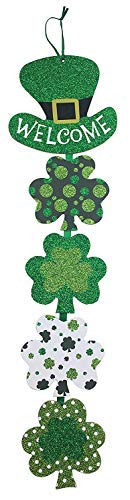 St Patrick Fun Cute (Bonus Glitter SHIMMERS) Day Decoration Wall Hanging Welcome Wood Sign - ()