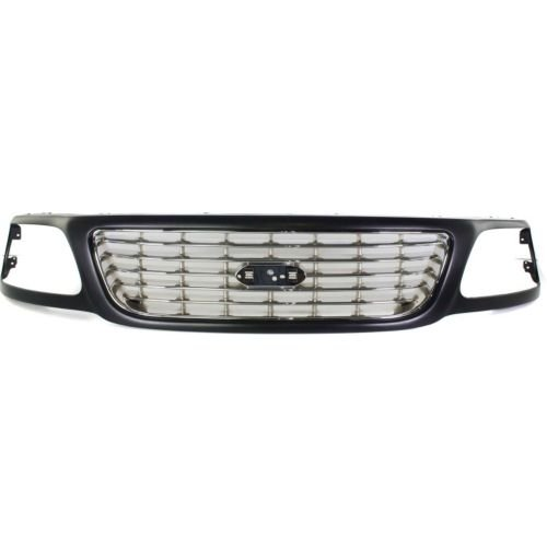 - Perfect Fit Group F070134 - F-150 Grille, Horizontal Bar, Primed Shell/ Chrome Insert, Lightning Model
