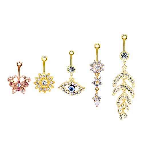 Shoopic 5 PCS Crystal Body Piercing Belly Button Rings Dangle Flower Feather Navel Earrings Jewelry Set Gold for Women