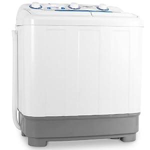 oneConcept DB004 • machine à laver • mini-machine à laver • lave-linge de camping • essoreuse • pour célibataires • étudiants • campeurs • capacité 4,8 kg • 380 W de puissance de lavage • blanc