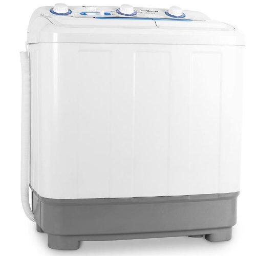 oneConcept DB004 • machine à laver • mini-machine à laver • lave-linge de camping • essoreuse • pour célibataires • étudiants • campeurs • capacité 4, 8 kg • 380 W de puissance de lavage • blanc