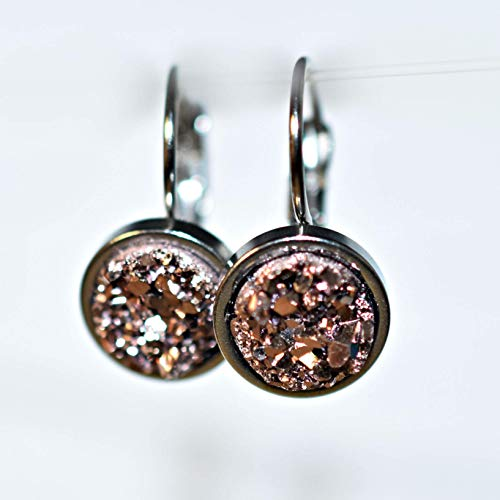 Rose Champagne - Pink Druzy Drop Earrings by Amaranth & Rue