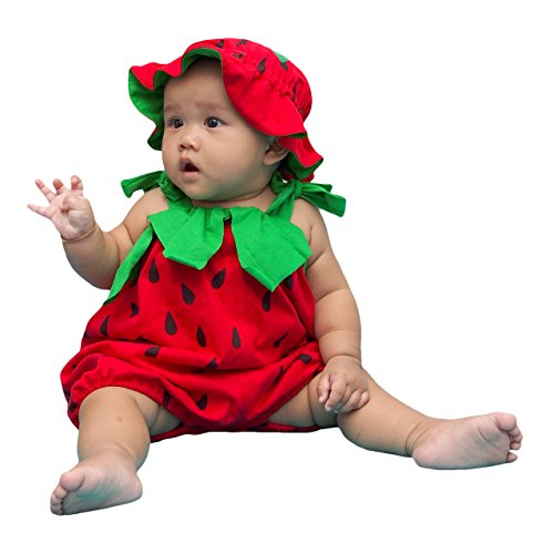 I-Fame Infant Unisex Baby Fancy Strawberry Costume 100% Cotton (Strawberry M, 7-15 months) -
