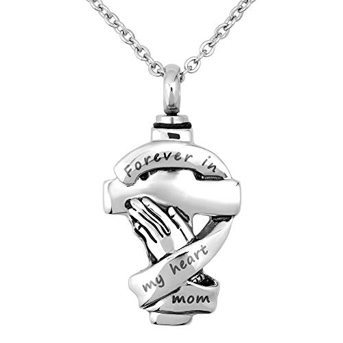 - LoEnMe Jewelry Urn Necklace for Ash Cremation Pendant Cross with Wand Forever in My Heart Mom Family Memorial