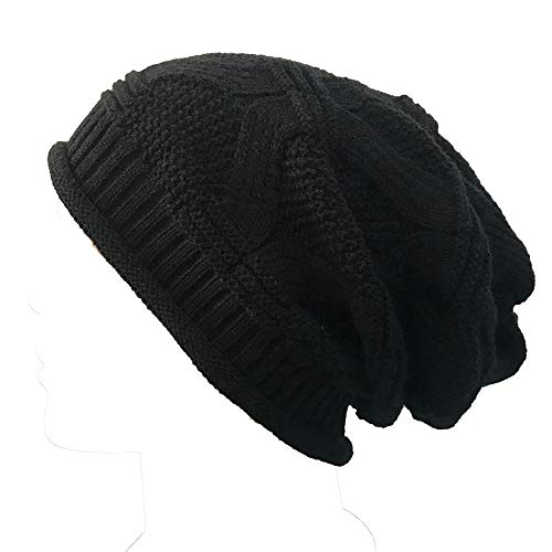 JIN+D Unisex Slouchy Beanie Cap Cable Knit Soft Cozy Oversized Long Hats for Women and Men Black ()