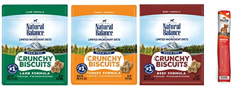 Deliciously Healthy Dog Biscuits - Natural Balance LID Grain Free Crunchy Dog Biscuits in 3 Flavors: (1) Beef, (1) Lamb, and (1) Turkey (10 Ounces Each, 3 Bags Total) Plus 1 Nulo Turkey Protein Stick, 0.4 Ounces