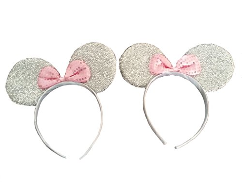 Disney Mickey Ears Headband (Kenza Mickey/Minnie Mouse ears headband for boys girls, parties, Disneyland, more (Sparkling Silver with Pink Bow))