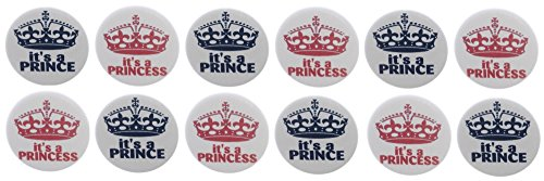 """Set of 12 It's A Prince / Princess Royal Gender Reveal Girl Boy Baby Shower Party Favors 1.25"""" Magnets"""