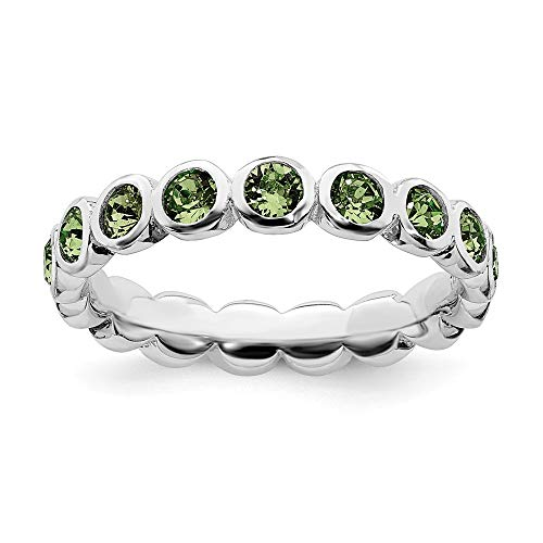 (925 Sterling Silver August Swarovski Band Ring Size 9.00 Stackable Birthstone Gemstone Peridot Fine Jewelry Gifts For Women For Her)