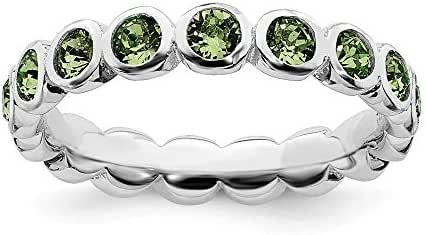 925 Sterling Silver August Swarovski Band Ring Stackable Birthstone Gemstone Peridot Fine Jewelry For Women Gift Set