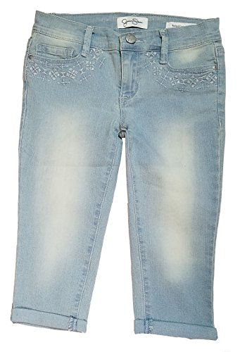 Jessica Simpson Big Girls Embellished Rolled Crop Skinny Capri Pant (8, (Girls Embroidered Denim Capri Pants)