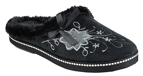 Mirak Ladies Dijon Faux Fur Accented Textile Stitch Slipper Black Flower