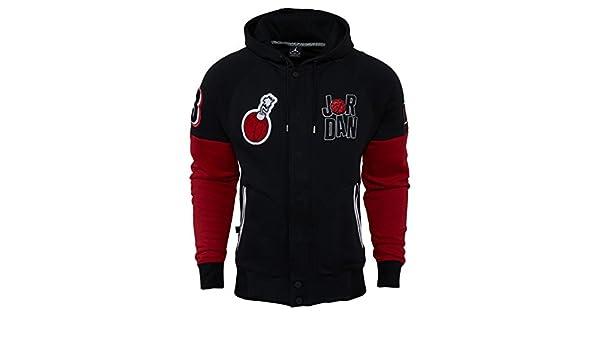 Nike para hombre Jordan Marvin el Marciano Mars Varsity con capucha chaqueta color negro/rojo 716423 - 010 tamaño grande: Amazon.es: Deportes y aire libre