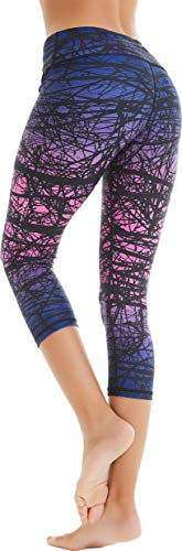 COOLOMG Women's Leggings Yoga Capri Pants Compression Drawstring Running Tights Non See-Through Purple Forest Adults ()