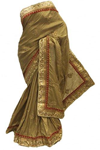 RUBS2738 elegante vara de oro y oro Sari Partido Bollywood Indian Designer Party Saree Gold
