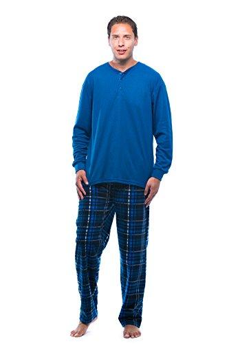 (#followme Pajama Set for Men with Thermal Henley Top and Polar Fleece Pants 44909-9-S Light Blue)