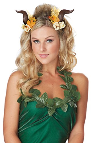 Lady Fairy Costume (California Costumes Women's Woodland Fairy Horns, Brown, One Size)
