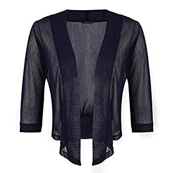 WinSi Womens Tie Front 3/4 Sleeve Sheer Shrug Cropped Bolero Sheer Mesh Cardigan S-XXL - Blue - Small