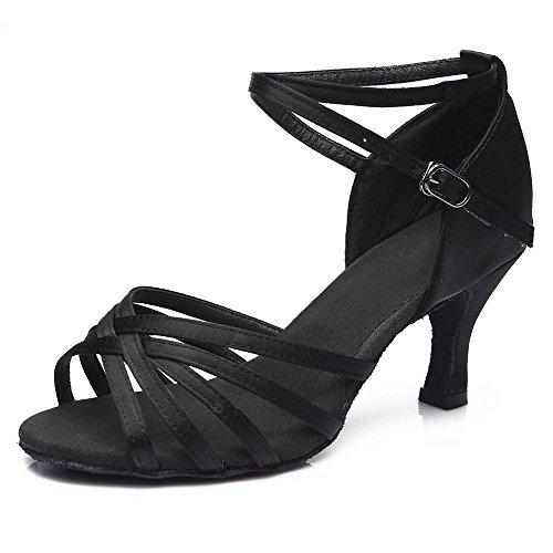 YFF Frauen Tango/Ballsaal/Latin Dance Tanz Schuhe hochhackige Salsa professionelle Tanz Schuhe für Mädchen Damen 5 cm/7 cm,7 cm Heels Schwarz,6.
