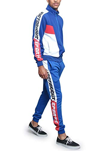G-Style USA Men's Sport Tri Color Lettered Sleeve Outseam Track Suit ST563 - Royal Blue - Large - T9I