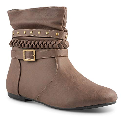 Twisted Women's Shelly Faux Leather Ankle-High Slouchy Boot with Multi Buckle Straps - SHELLYDEV Mocha, Size 10 - Buckle Multi Womens