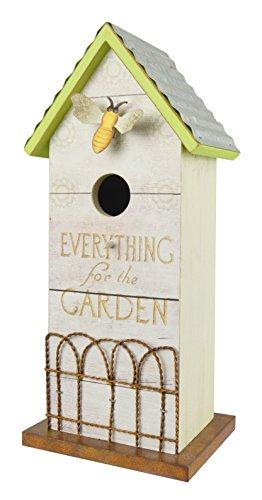 Red Carpet Studios 40931 Whitewash Metal Roof Birdhouse, Garden Fence