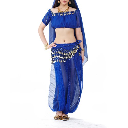 [BellyLady Belly Dance Tribal Harem Pants, Egyptian Lantern Pants For Christmas NAVYBLUE] (Dance Hire Costumes)