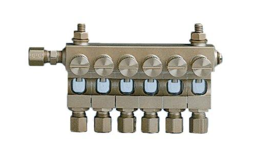 Trico V Series Brass Sight Glass Valve, 6 Outlet, 1/4