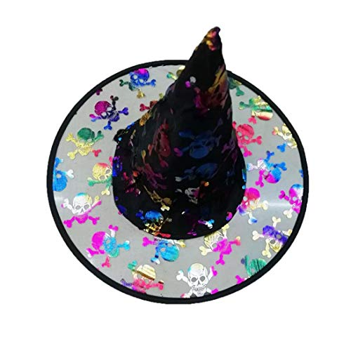 Yezijin Halloween Children's Hats, Adult Womens Mens Witch Hat for Halloween Costume Accessory Fluff Solid Cap (Black) -