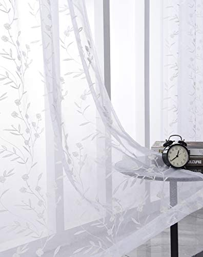 White Sheer Curtains Embroidery 63 Inch Length Rod Pocket Voile Drapes