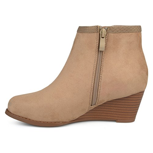 Journee Collection Womens Two-tone Wedge Booties Taupe YefXtIRL