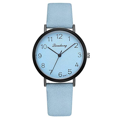 Female Watches Leather Strap Round Case Analog Fashion Women Watch on Sale XR2822 (Light Blue, One) ()