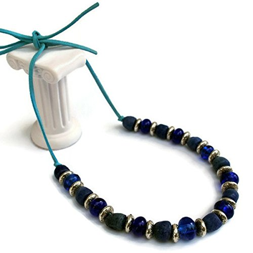 Women's Handmade Adjustable Blue Recycled Glass Powder Bead Beaded Necklace Fair Trade Tanzania Africa