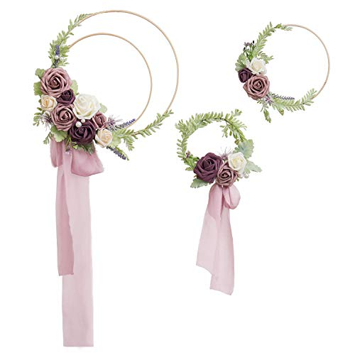 Ling's moment Floral Hoop Wreaths Set of 3 Dusty Rose Flower Wreaths for Wedding Bridal Shower -