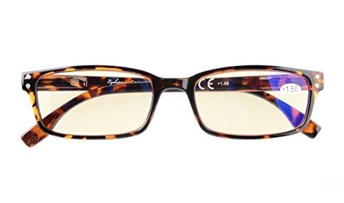 UV Protection,Anti Blue Rays,Reduce Eyestrain,Computer Reading Glasses Men Women(Tortoiseshell,Amber Tinted Lenses) +2.5 (Glass Brown Lens)