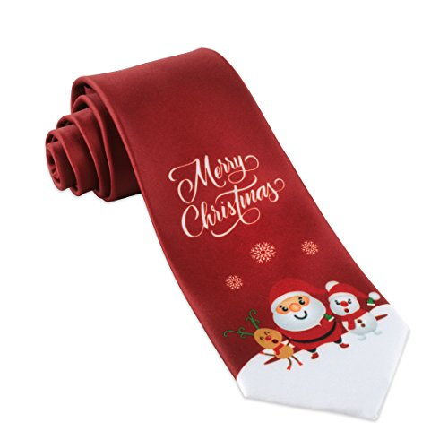 John William Mens Merry Christmas Ties For Men Gift Necktie Holiday Santa & Deer Tie