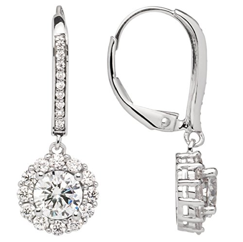 Everyday Elegance | 14K Solid White Gold Leverback Earrings | Round ''Halo'' Cubic Zirconia | Drop Dangle Basket Setting | .63 ct center, 1.0 cttw each, 2.0 cttw pair | With Gift Box by Everyday Elegance Jewelry