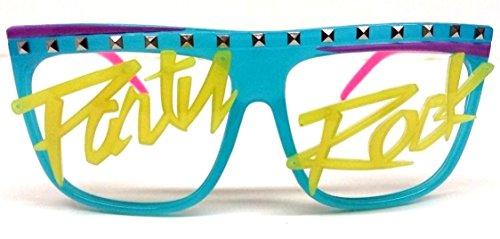 Glow in the Dark Party Rock Wayfarer Sunglasses Blue & Pink Frame Yellow (Glow In The Dark Halloween Shirts)