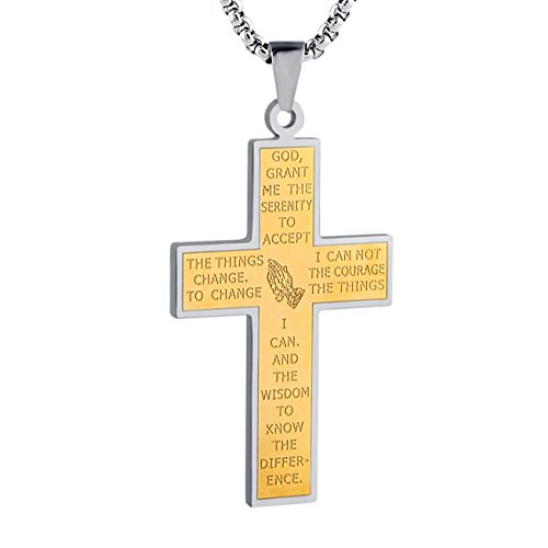 ainless Steel Cross Pendant Necklace True Religious, Rolo Cable Wheat Chain (P) (Gold Stainless Steel Crucifix)
