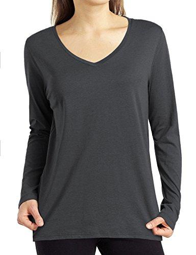 Solid Slim V-neck - REGNA X Love Coated Women's Solid Color Slim v Neck Long Sleeve Top Tee Grey M