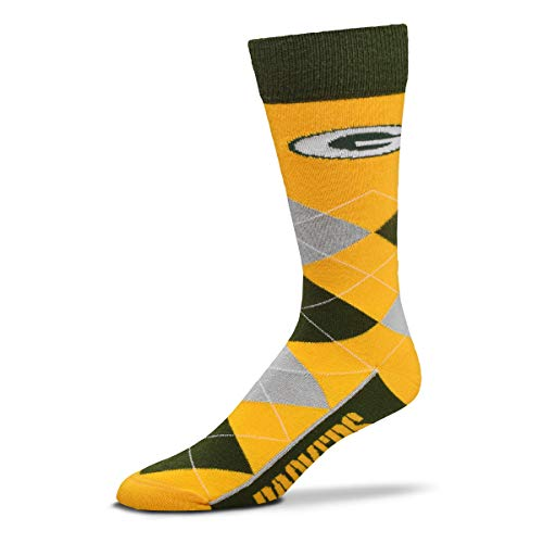 For Bare Feet - NFL Argyle Lineup Men's Crew Socks - One Size Fits Most (Green Bay Packers)