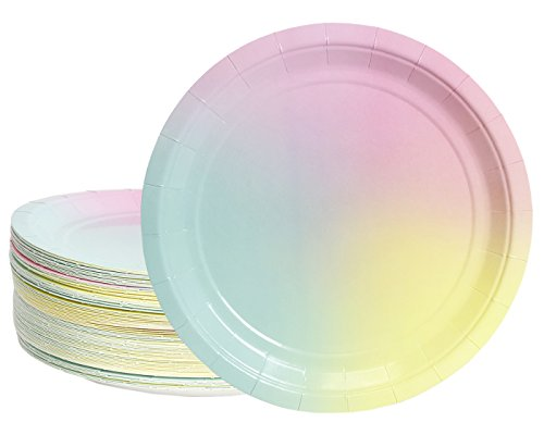 (Disposable Plates - 80-Count Paper Plates, Ombre Party Supplies for Appetizer, Lunch, Dinner, and Dessert, Birthdays, Bridal Showers, 9 Inches in Diameter)