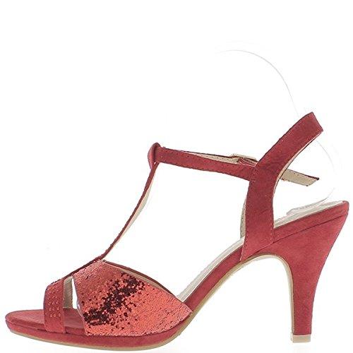 Brillo rojo sandalias para terminar ante de aspecto de 9cm con tacón de brida